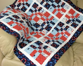 Baby Boy Quilt, Nautical Quilt, Toddler Quilt, Red White Blue Baby Quilt, Flannel Back Baby Quilt, Baby Boy Blanket, Quiltsy Handmade