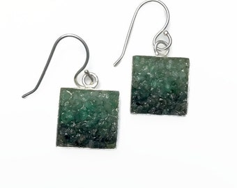 Emerald Earrings - Micro Mosaic