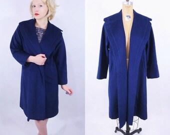 WINTER SALE / 1950s coat vintage 50s dark blue shawl collar open cashmere coat S/M