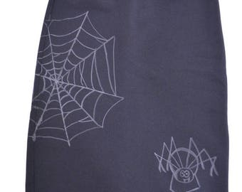 50% OFF SALE // 1990s skirt 90s spider black Halloween stretchy spiderweb pencil S