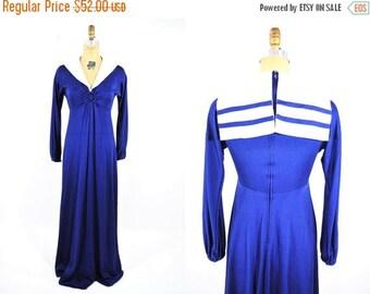 "50% OFF SALE // 1970s nautical dress | 70s navy blue sailor collar dress | vintage keyhole maxi dress | W 25"""