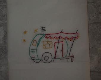 Retro Travel Trailer Embroidered Pillowcase