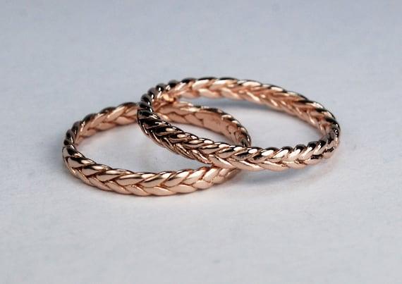 Solid 10k Rose Gold Thin Braid Stacking Ring