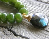 RESERVED FOR LORRIE - Green Jade and Labradorite Pendant Gold Necklace