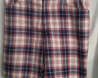 Vintage grandpa shorts, 36, red white blue plaid, polyester,  wright