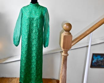 1960s Silk Emerald Green and Gold Gown with Chiffon Sleeves