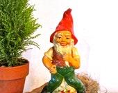 Vintage Garden Gnome/Antique Gnome/Red Clay Pottery Gnome/Collectible/Prop/Decorative/ Gnome/Elf Figurine