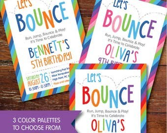 Bounce House, Trampoline Park, Jumping party invitation (custom), DIGITAL OR PRINTED, Free Shipping on Printed Invitations