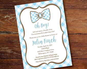 Baby blue gingham and bow tie baby shower invitation (custom), DIGITAL OR PRINTED