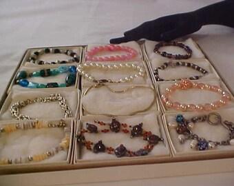 Lavish Array of TWELVE Mixed Metals~ Pearls~Crystals~Beads: Gold Plate Bracelet