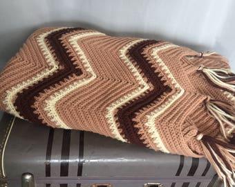 Boho Brown Blanket Chevron Tassle Fringe Beige Creamy White Striped Vintage Farmhouse Home Decor Bedding