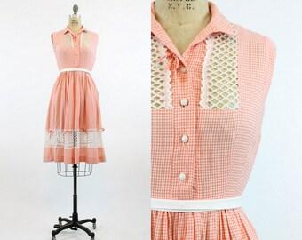 50s Cotton Dress Gingham Lattice XS / 1950s Cotton Dress / Latticework Lace Dress