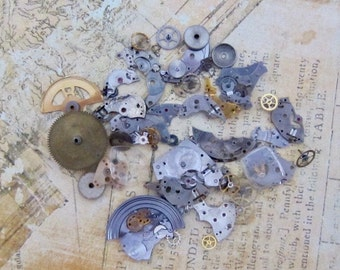 Vintage WATCH PARTS gears - Steampunk parts - L48 Listing is for all the watch parts seen in photos