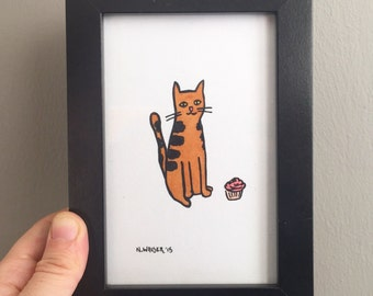 Original Art, Cat and Cupcake, Gouache and Ink Drawing
