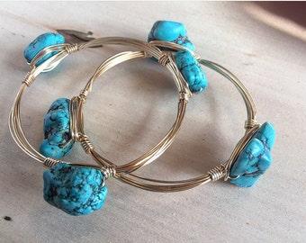 Wire Wrap bracelets, bangle bracelets, turquoise bangle bracelet,wire bangle bracelet