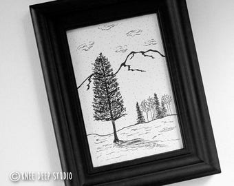 Daily Drawing Pen and Ink Trees Landscape Art Original Fine Art Nature Clouds Mountains Contemporary Home Decor Tabletop Art Gift Under 50