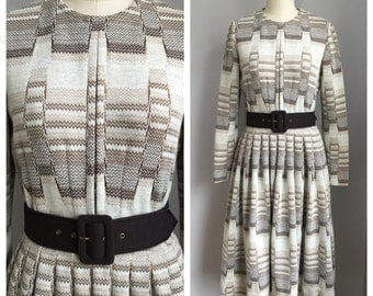 Vintage 1960's Monochromatic Plaid Kimberly Wool blend Full Skirt Dress Medium