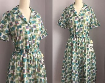 Vintage 1950s NOS Postage Stamp Novelty Print Shirtwaist Full Skirt Dress Size Small Medium