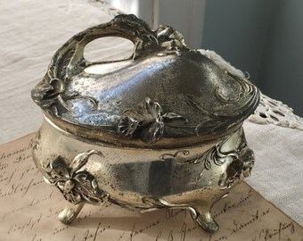 Aged and Patinaed Silverplate Jewelry Box