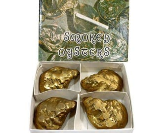 Vintage Brass Ashtrays / Set of Four / Smoked Oyster Ashtray Set / Original Box / Men's Father's Day Gift / Individual Lidded Ash Trays