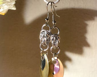 Gold and Silver Scales and Silver Chainmaille Dangle Earrings