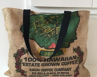Kauai Coffee Company burlap coffee sack Tote/ Beach Bag/ Market Bag