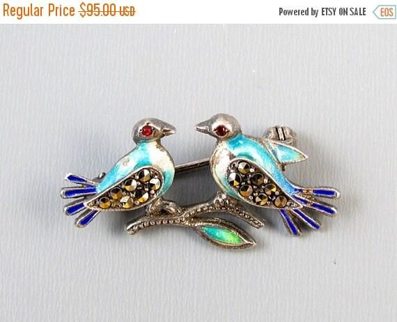 Holiday Sale Vintage sterling silver enamel marcasite glass garnet love bird brooch pin