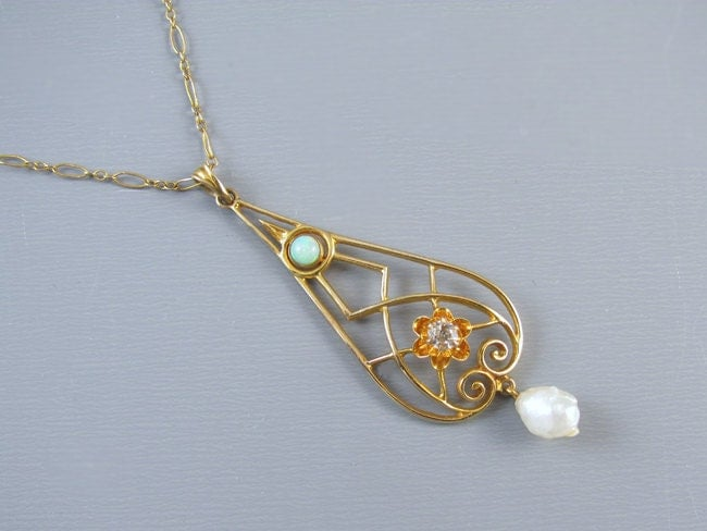 Antique Edwardian 10k gold opal diamond and fresh water pearl buttercup setting lavalier pendant necklace with original chain