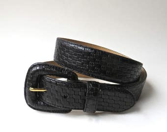 Supple vintage Basket Weave Embossed Ebony Black Italian Calfskin Leather Belt / Lady Canterbury Black Leather Belt
