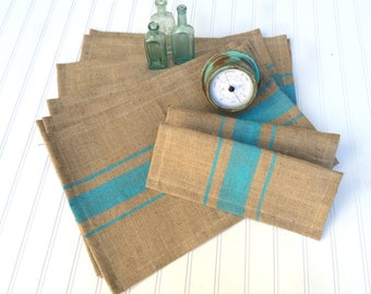 French Grain Sack Burlap Placemats with Bahama Blue stripes   Beach / Lake House / Nautical / Coastal / Cottage Chic Decor