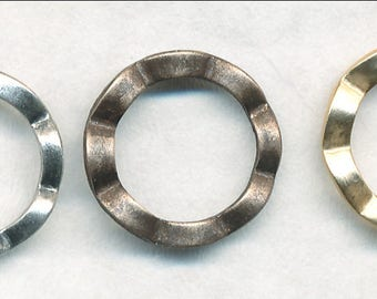 12MM BRASS CRINKLE RING -10 Pieces