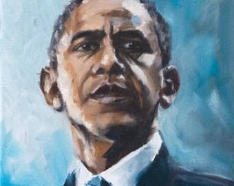 "Obama Painting Print 8x10"""