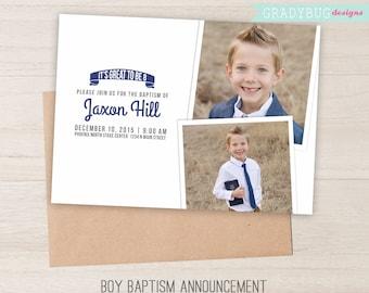 LDS Baptism Invitation, Boys Baptism Announcement, Blue, Navy, Photoshop File, customization available read in description