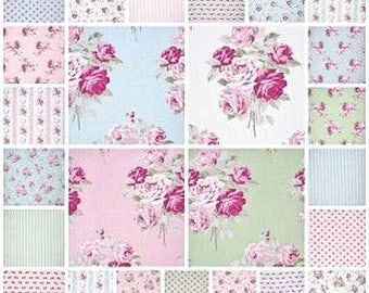 Dollhouse Miniature Small Scale Computer Printed Pink and Blue Patchwork Quilt Roses Floral Fabric