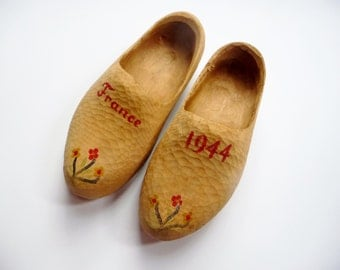 Vintage Wooden Shoes Clogs Hand Carved, Hand Painted 1944 France WWII Souvenir - Child Size