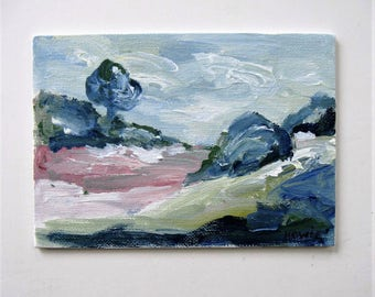 """Small acrylic landscape painting on canvas panel, Original Impressionist art, wall decor, Expressionist, 5"""" x 7"""", Contemporary, gift idea"""
