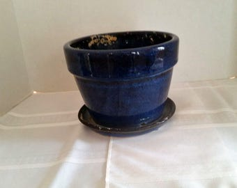 Vintage Cobalt Blue Planter with attached plate