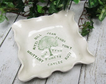 Personalized  Family Tree Square Stoneware Dish  FREE SHIPPING