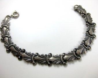 Vintage Sterling Silver Embossed Choker Necklace