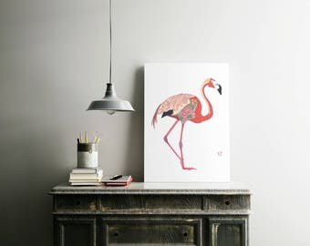 Pink Flamingo Print Giclee Print Flamingo Art Pink Flamingo Wall Art Flamingo Poster Flamingo Decor Flamingo Art Print Flamingo Nursery