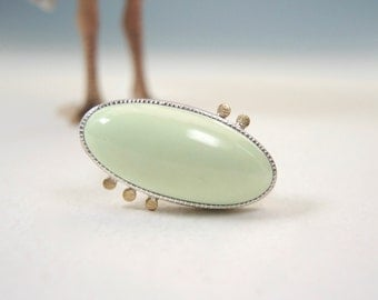 Citron Chrysoprase Ring, Mint Green Stone, High Dome, Sterling Silver, 14kt Gold, Fabricated ON SALE