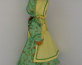 """Green and Yellow Apron Prairie Dress with Bonnet, Fits 18"""" Dolls // AG Doll Clothes, AG Doll Dress, American Girl Dress, Historical, Period"""