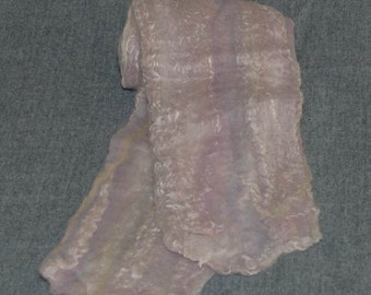 Merino Wool and Silk Women's Felted Scarf. Colors are Soft Pastel Pink, Blue and White