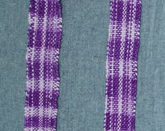 Handwoven Women's Scarf Purple and White Plaid Cotton