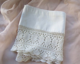 """Vintage Knit Lace Trim in Ivory with Pillowcase Remnant all Cotton 45"""" x 6"""""""