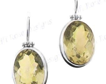 """13/16"""" Adorable Lemon Quartz 925 Sterling Silver Earrings"""