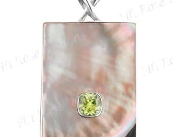 """2 1/4"""" Peridot Mother Of Pearl Shell Sterling Silver Pendant"""