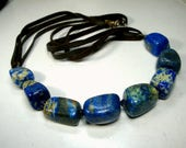 RESERVED Carla, LAPIS Lazuli Tribal Stone Bead Necklace, Midnight Blue Mineral Beads, Mother Natures Bounty, Timeless, Chunks on Brown Suede