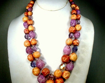 Tan n Lavender GLASS Bead Necklace, 1960s Mad Men 2 Unusual ART Strands, Rare Colors w  Crystal Lavender Aurora Borealis Beads to POP It Up