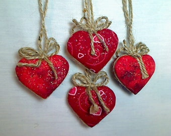 Miniature Red Heart Ornaments   Valentine's Day   Holidays   Party Favors  Tree Ornament   Handmade Gift   Holidays   Wedding   Set/4   #4